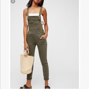 Free People Washed Denim Overalls
